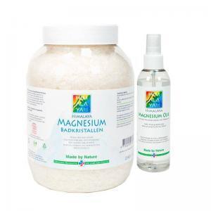 Himalaya magnesium combipakket 2,5 kg badkristallen en 200 ml magnesium olie